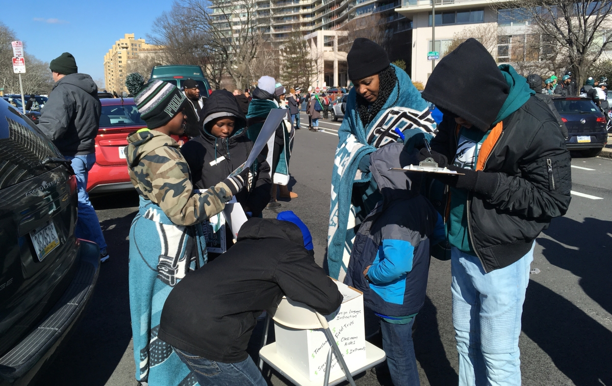 Philly Education Street Talk at the Eagles Super Bowl Celebration Parade