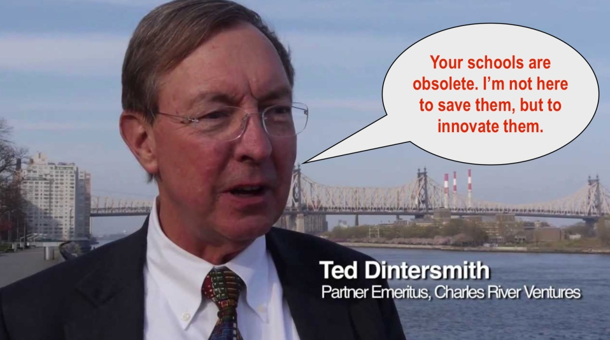 Ted Dintersmith is not here to save neighborhood schools!