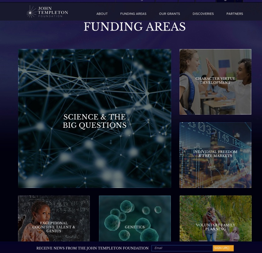 Templeton Foundation Funding Areas