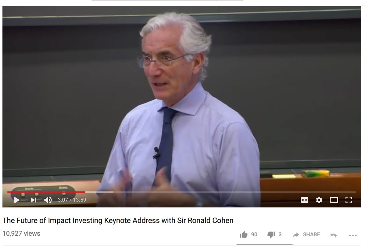 Sir Ronald Cohen Discusses the Holy Grail of Impact Investing at the Vatican andHarvard