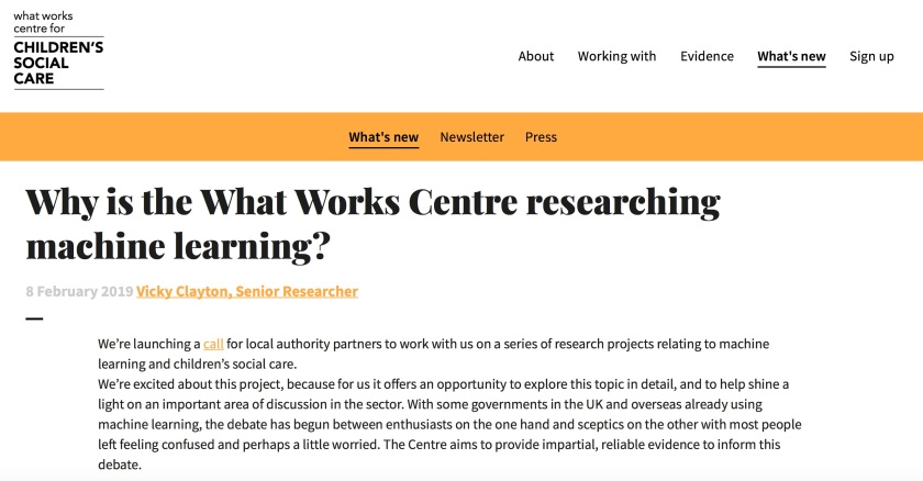 What Works Child Social Care Machine Learning