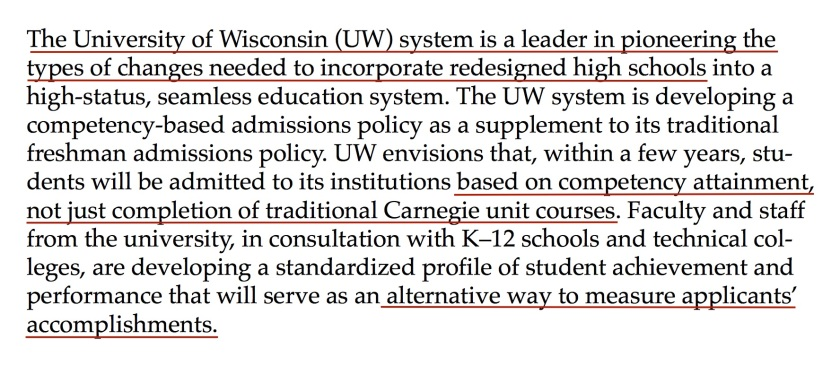 University of Wisconsin CBE Competency Based Education