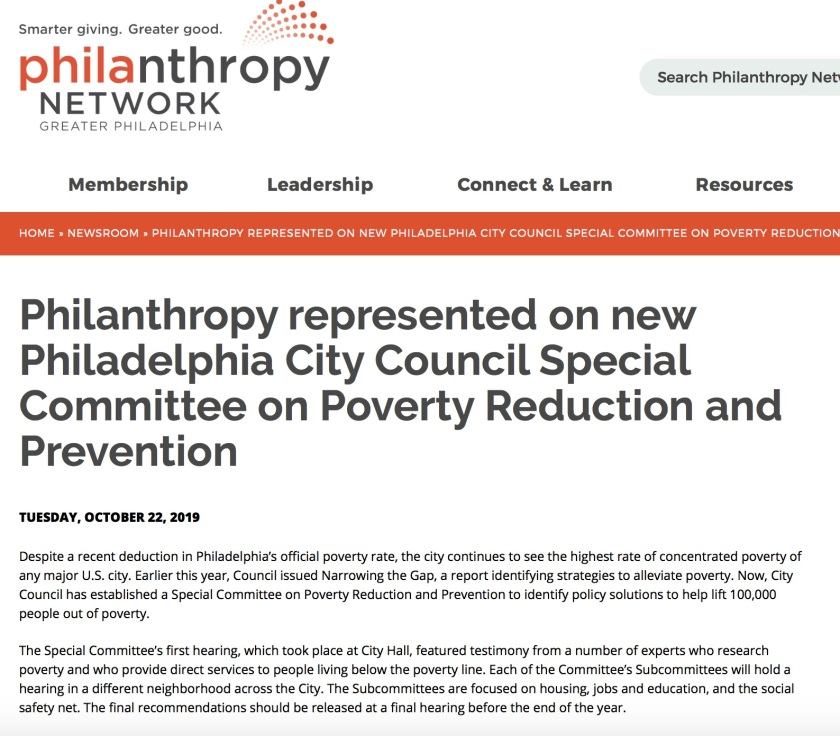 Philadelphia Poverty Committee Philanthropy