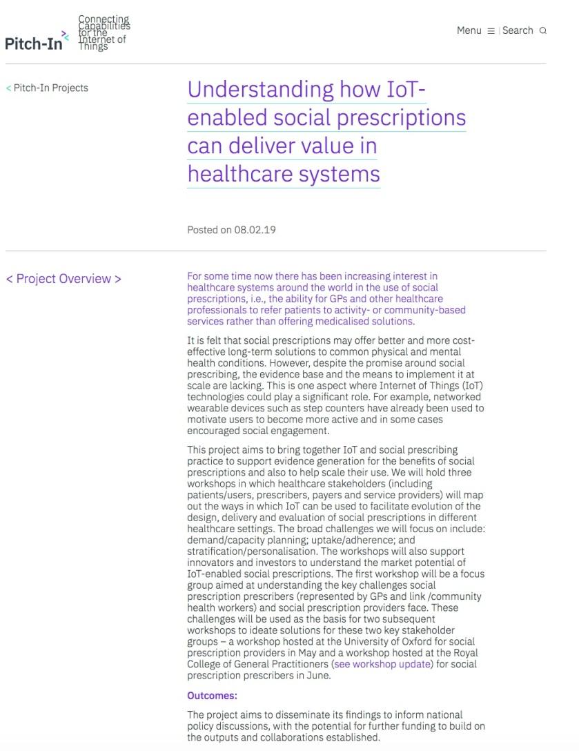 Social Prescribing IoT